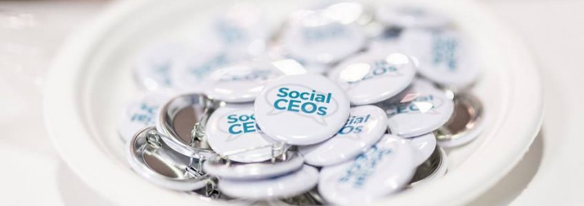 Social CEOs badges in a white bowl