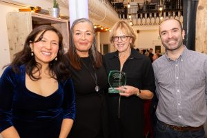Social CEOs co-founders Matt and Zoe, with judge Sarah Hughes and overall winner Polly Neate